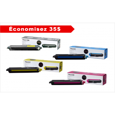 COMBO 4 couleurs Brother cartouche compatible TN-221BK TN-225 C/M/Y Premium Tone