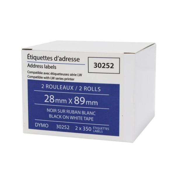 Dymo-30252-étiquette Comp. noir / blanc-28x89mm 2x350