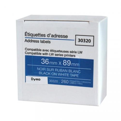 Dymo-30320-étiquette Comp. noir / blanc-36x89mm 1x260