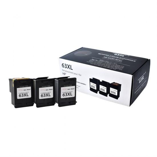 TRIpack HP 63XL F6U64AN Noir Premium Ink (3 cartouches, 1 tête)