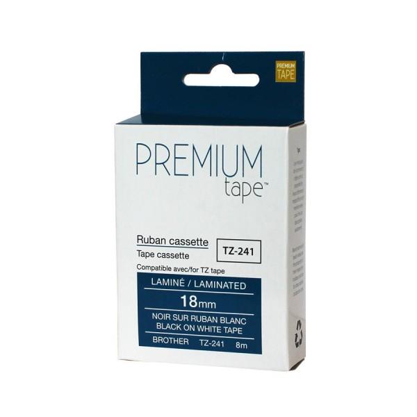 Ruban TZe-241 P-touch  Brother compatible 18mm (noir sur blanc)