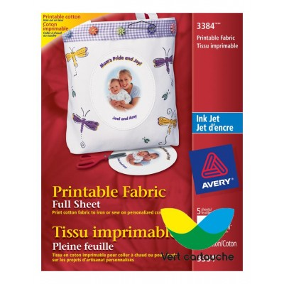 Avery® Tissu imprimable 3384