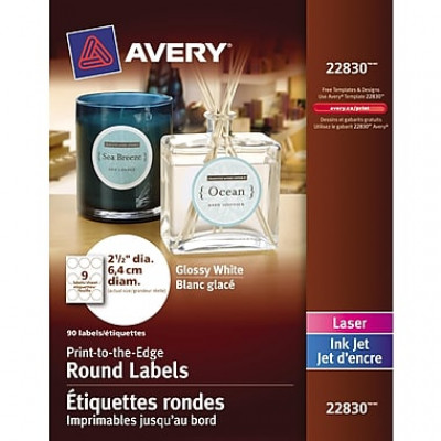 Avery® – Étiquettes rondes blanches glacées 22830