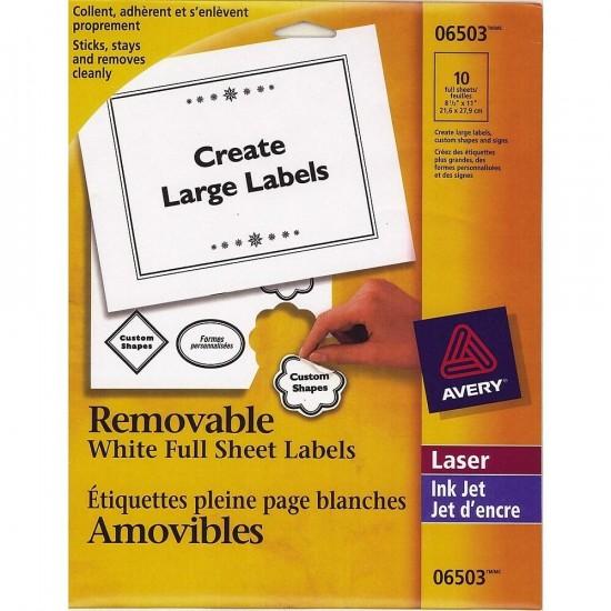 Avery 06503 Étiquettes pleine page blanche (paquet de 10)