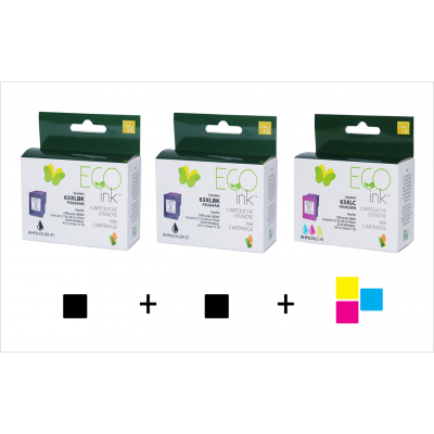Combo HP 63XL  (2 black + 1 color) reman Ecoink + free delivery