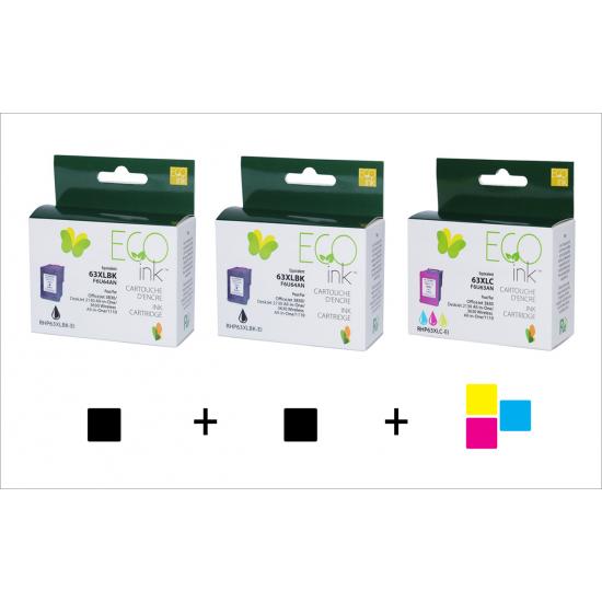 Combo HP 63XL  (2 noir + 1 couleur) recyclé Ecoink + Livraison gratuite