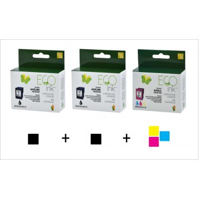 Combo HP 64XL  (2 noir + 1 couleur) recyclé Ecoink + Livraison gratuite