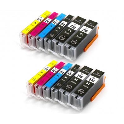 EXTRA-pack 12 cartouches compatible Canon PGI-270XL, CLI-271XL haute capacité