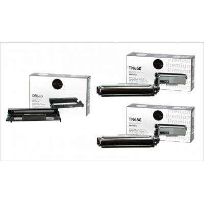 3pack Brother 1 tambour DR-630 + 2 toner TN-660 compatible Premium Tone