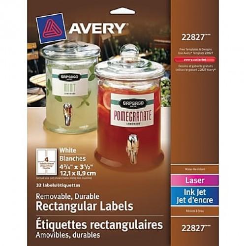 Avery 22827 Étiquettes durables, amovibles, blanches, laser/jet d'encre,
